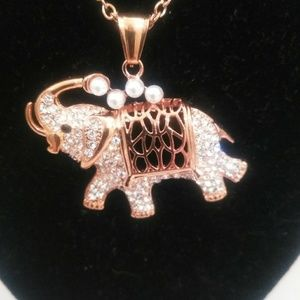"""Jewelry - Rose Gold COLORED 20"""" Elephant Pendant Necklace"""